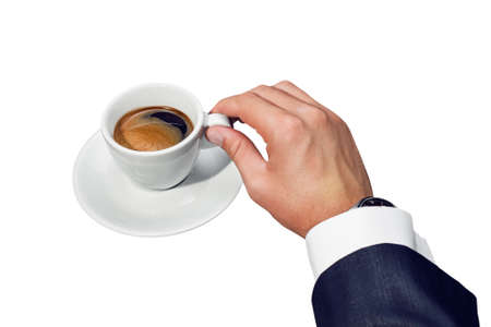 Businessman hand holding a cup of coffee on white background photo