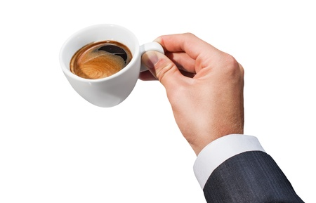 Businessman hand holding a cup of coffee on white background Stock Photo - 15647367