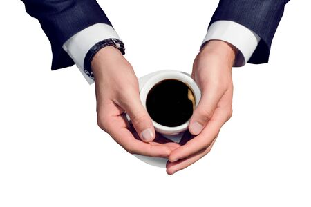 Businessman hand holding a cup of coffee on white background Stock Photo - 15647366