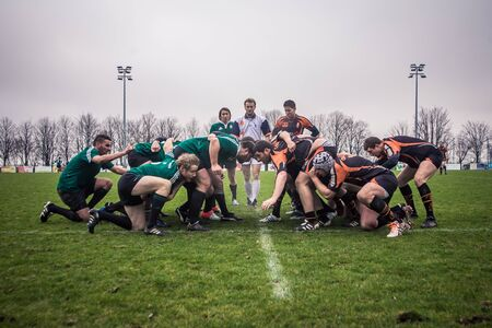 scrum: Paris, France - 13 January: Rugby game