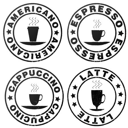 Four stamp symbolizing variety of coffee Stock Photo - 17408852