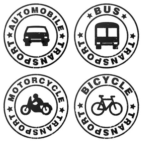 Four stamp symbolizing variety of transportation photo
