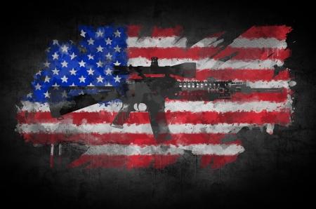 la union hace la fuerza: Poster rifle M16 en un fondo de la bandera americana