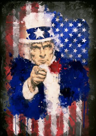 war paint: Poster of Uncle Sam in the background of the USA flag