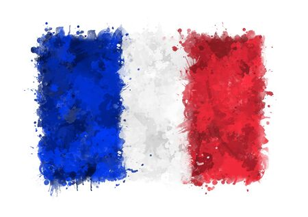 france painted: Flag of France painted with watercolors on an isolated background