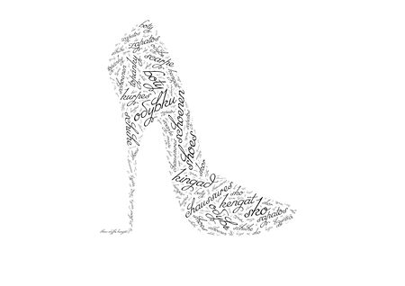 The form of shoes composed of words photo