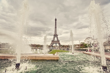 trocadero: The fountains on place Trocadero in Paris Stock Photo