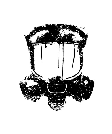 respirator: Gas mask painted in black on a white background