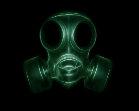 The image of the mask in shades of green photo