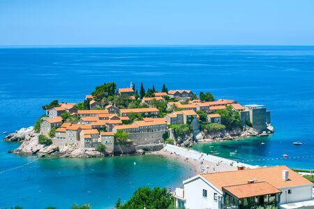 sveti: View of the island of Sveti Stefan in Montenegro on the Adriatic Sea