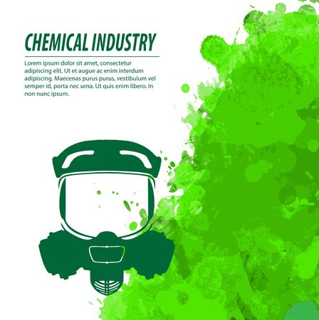 chemical warfare: Gas mask and green splatters in chemical industry
