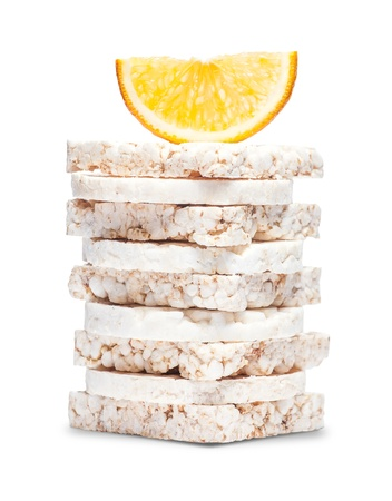 galettes: Set of corn crackers isolated on white background Stock Photo