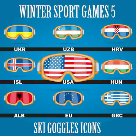 Ski glasses with the flags of countries members of Winter Games photo
