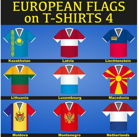 Sports T-shirts painted in flags of countries photo
