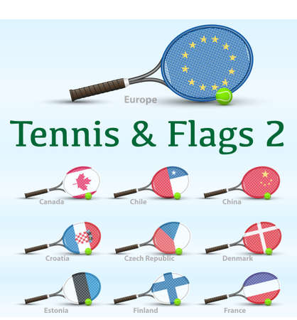 Tennis racket painted in the colors of the flag Vector