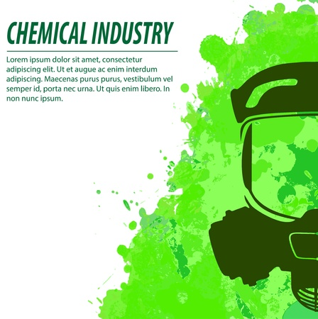 toxins: Gas mask and green splatters in chemical industry