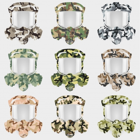 toxins: The set gas mask symbol in different camouflage texture.