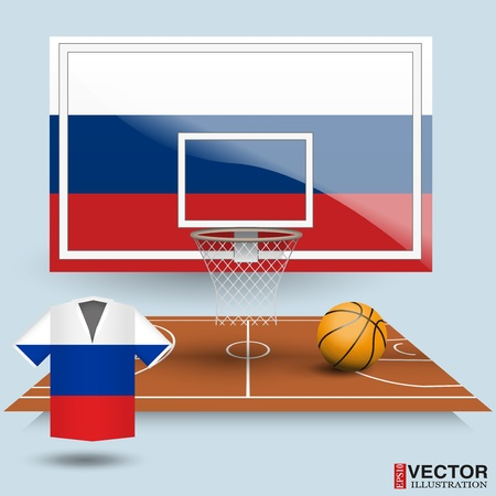Basketball backboard, basket, court,  ball and t-shirt in the colors of the flag of Russia Vector