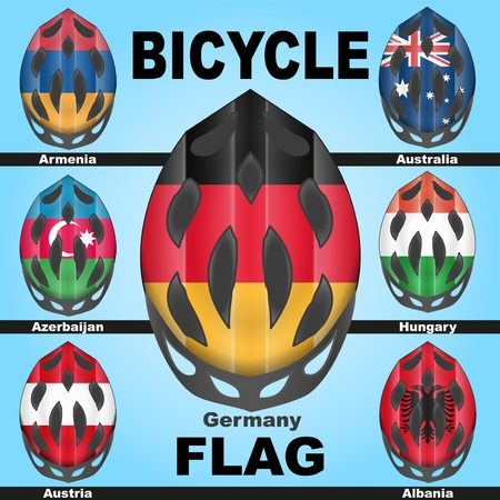 Icons bicycle helmets painted in the colors of flags of different countries Banco de Imagens - 21773753