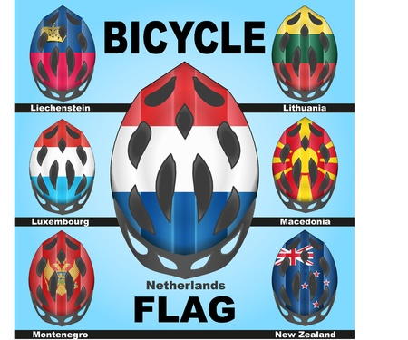 Icons bicycle helmets painted in the colors of flags of different countries