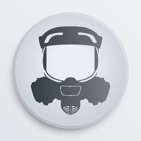 respirator: Symbol protective respirator on a white icon on a white background. Vector illustration, EPS10.