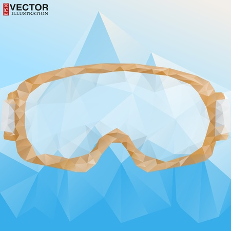 Abstract poster ski goggles with reflection of mountains. Vector Illustration, eps10, editable and isolated. Stock Vector - 21773874