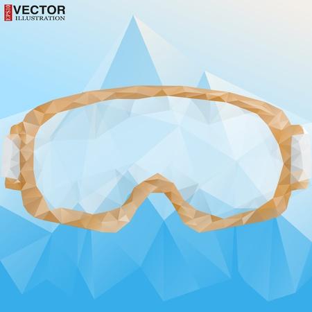 freeride: Cartel abstracto anteojos del esqu� con la reflexi�n de las monta�as. Ilustraci�n vectorial, eps10, editable y aisladas.