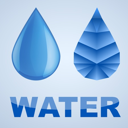 Vector illustration of blue water drop and abstract drop, isolated on white background