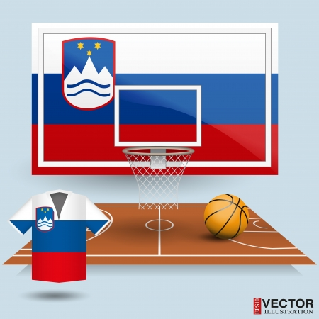 Basketball backboard, basket, court, ball and t-shirt in the colors of the Slovenia flag