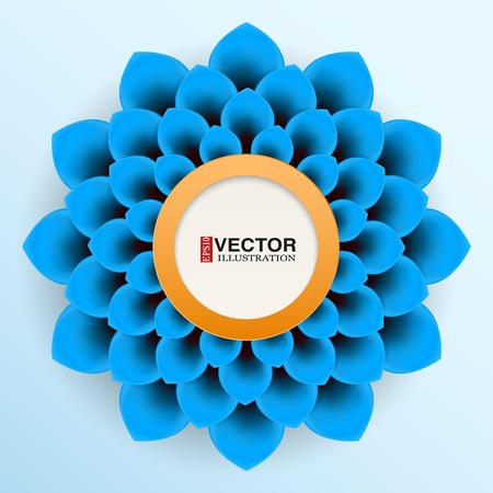 Background blue paper flower with space for text.  editable and isolation Vector