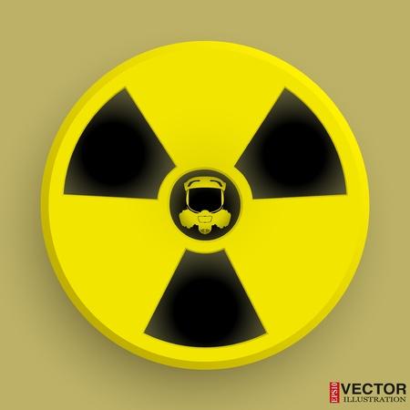 caesium: Icon radiation symbol with gas mask.  editable and isolated. Illustration