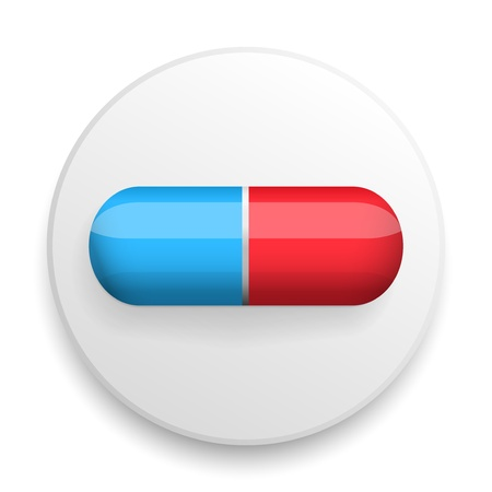 medical pills symbol on a white icon on a color background. Stock Photo - 22060776