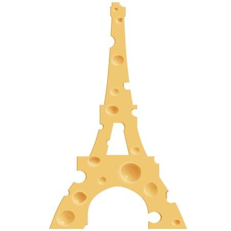 Realistische kaas in de vorm van de Eiffeltoren. Geïsoleerde achtergrond. Stockfoto
