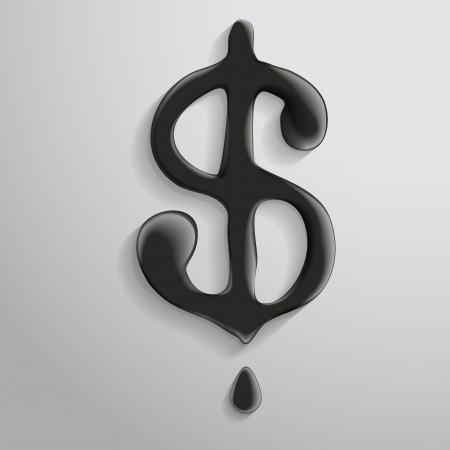 The symbol of dollar of liquid petroleum. Vector