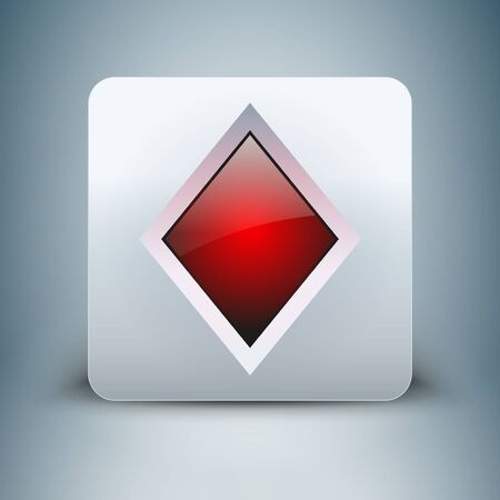 crystal button: 3D realistic icon playing card suits diamonds of crystal button Illustration