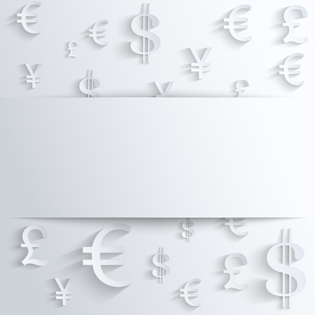 Currency symbol with space for text. Background about the money and the exchange rate. Business vector Illustration, isolated and editable. Vettoriali