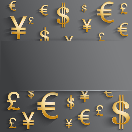Currency symbol in gold color with space for text. Background about the money and the exchange rate. Business vector Illustration, isolated and editable. Vector