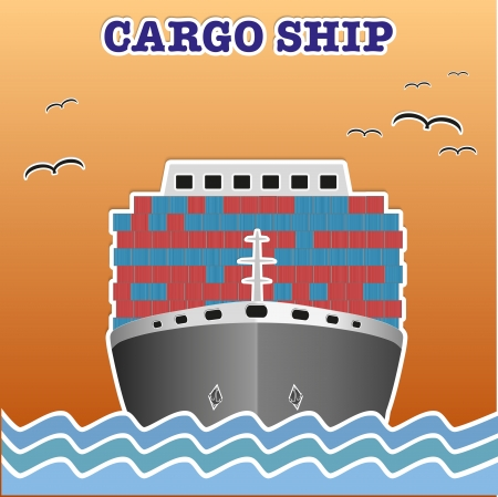 Illustration of a cargo ship traveling.   Vector