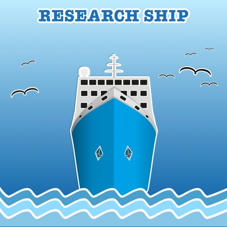 Illustration of the scientific research or fisherman nautical vessel.