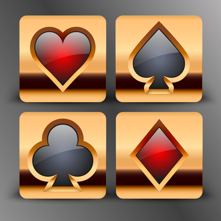 Icons set of four card suits of gold button. Bright symbols of gambling Vector