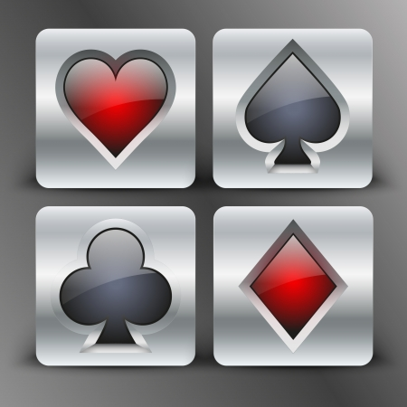 Icons set of four card suits of silver button.  Vector