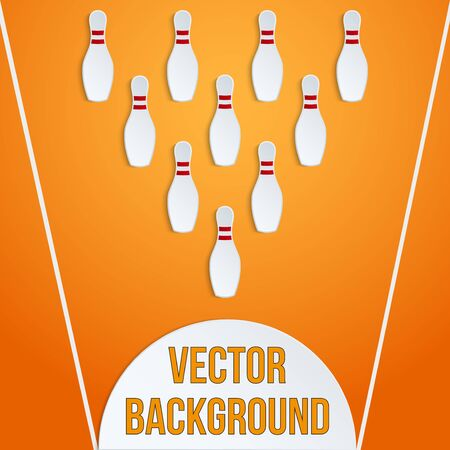 Background of paper bowling pins and ball. Vector illustration of sports competetion. Isolated and editable.
