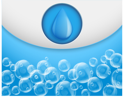 bulles de savon: aqua eau de fond avec des gouttes et des bulles de savon. Vector illustration design haut de gamme de détente et de loisirs. Isolé et modifiable.