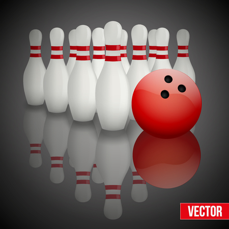 bowling ball: Background of bowling pins and ball with a flower. Vector illustration of sports competitions. Isolated and editable. Illustration