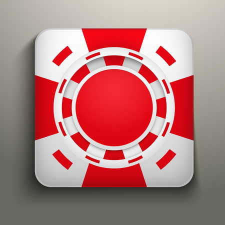 Square icon red casino chips. Bright symbols of gambling. Vector Illustration, editable and isolated. Vector