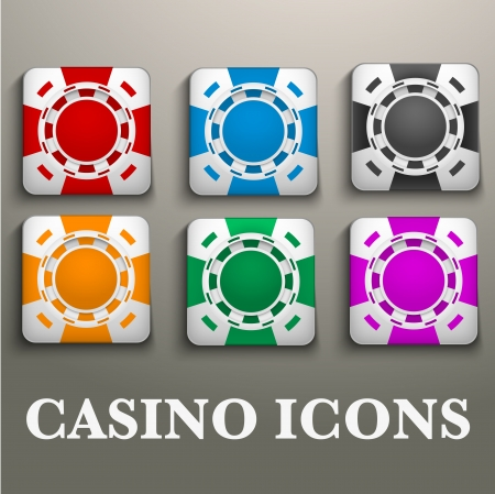fichas casino: Iconos cuadrados multicolor fichas de casino. Símbolos brillantes de los juegos de azar. Ilustración vectorial, editable y aisladas. Vectores