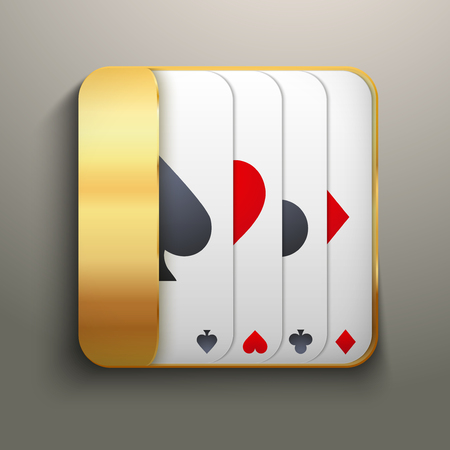 Realistic icon deck of playing cards for casino. Bright symbols of gambling. Vector Illustration, editable and isolated. Vector