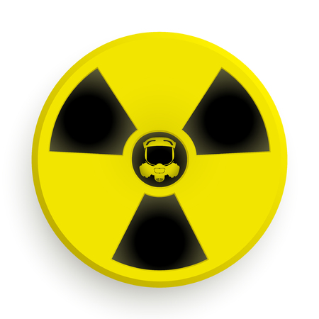 caesium: Icon radiation black and yellow symbol with gas mask. Stock Photo