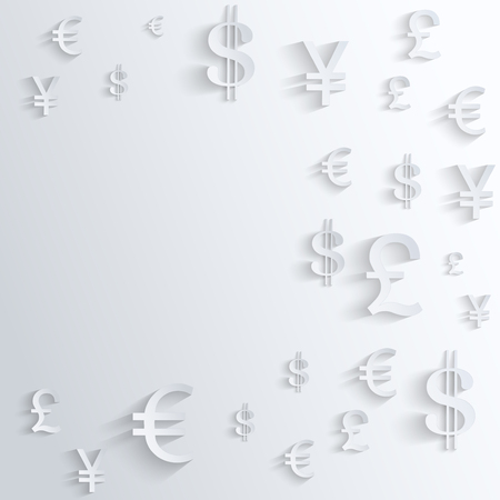 Currency symbol with space for text. Background about the money and the exchange rate. Business Illustration.