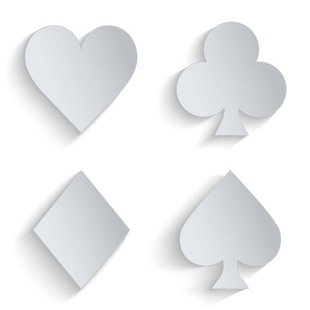 Icons set of paper four card suits. Paper symbols of gambling. photo